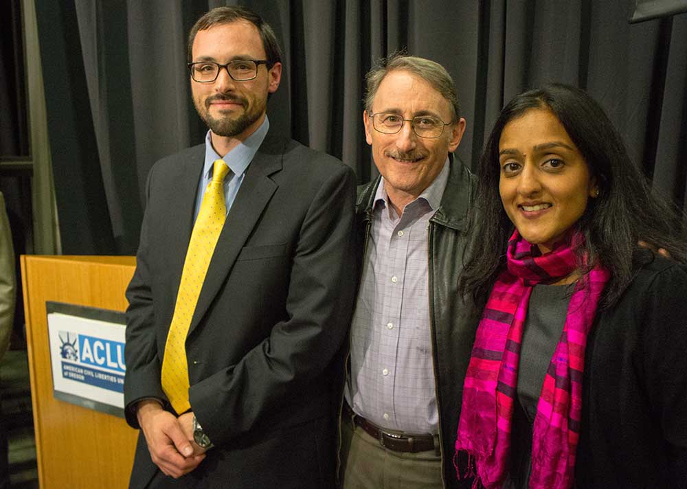 From left to right are Joseph Westover, conference organizer; David Fidanque, ACLU Oregon Executive Director; and Vanita Gupta, Director of the ACLU's Center for Justice and Deputy Legal Director of the ACLU