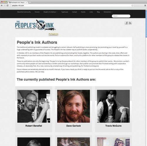 Authors page on peoples-ink.com