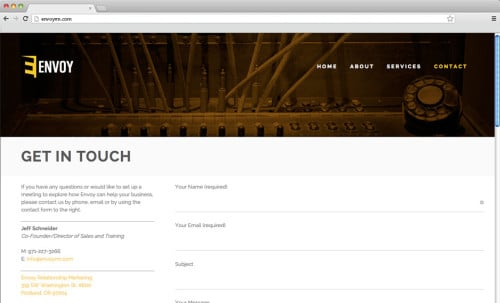 The contact page of Envoy's website