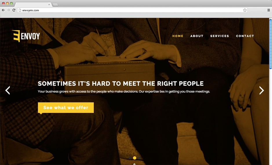 The home page of the Envoy website we wrote, designed and coded