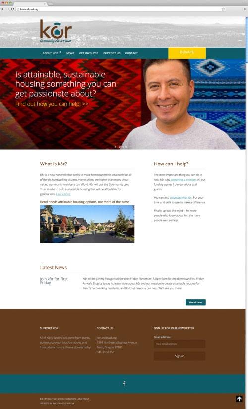 Kôr Website Homepage