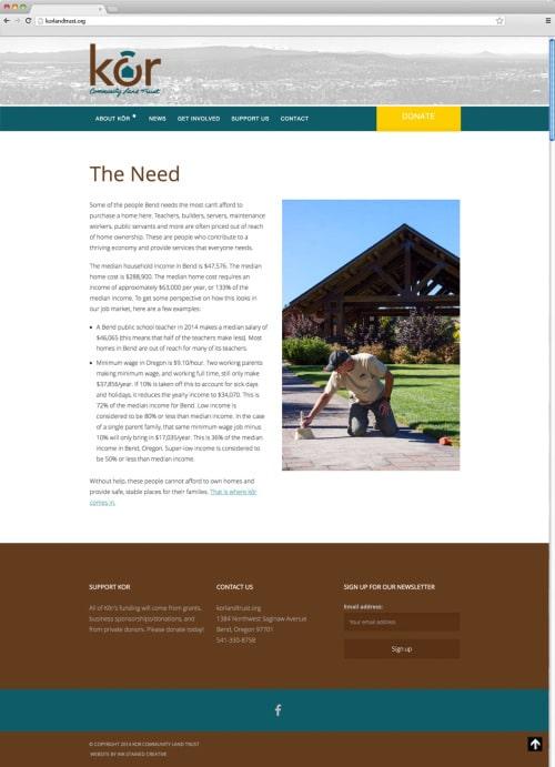 Kôr Website Needs Page
